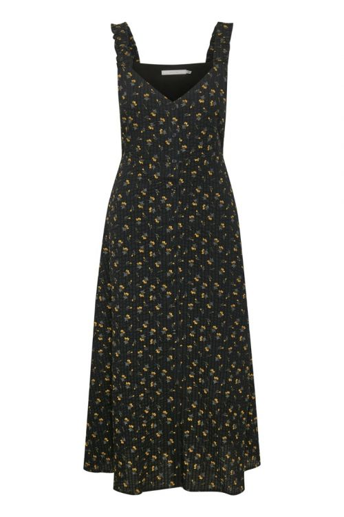 Gestuz Kjole Avery Strap Dress Tulip Black And Yellow Front