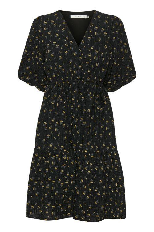 Gestuz Kjole Avery Short Dress Tulip Black And Yellow Front
