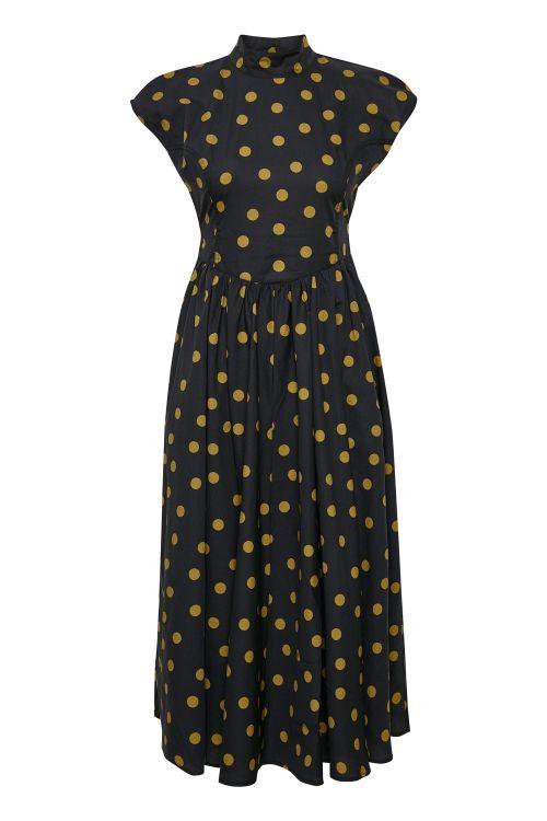 Gestuz Kjole Cassia Midi Dress Tapenade Dot Front