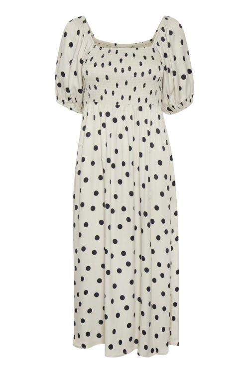 Gestuz - Kjole - Dora Short Dress - Off White w/Black Dot