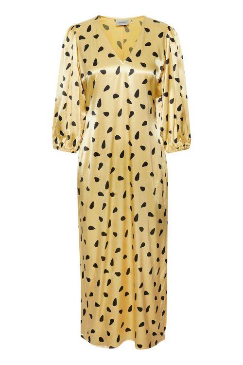 Gestuz Kjole Lutille Dress Yellow Black Dot Front