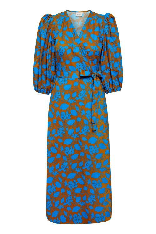 Gestuz Kjole Miriam Wrap Dress Blue Shadow Flower Front