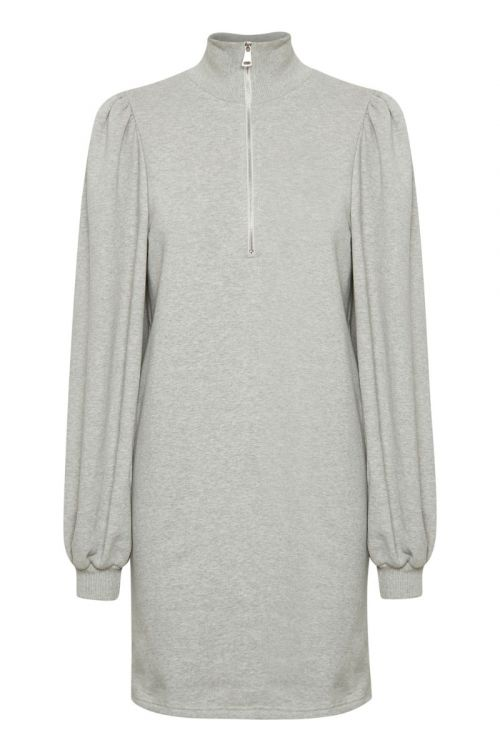 Gestuz - Kjole - Nankita Zipper Dress - Light Grey Melange