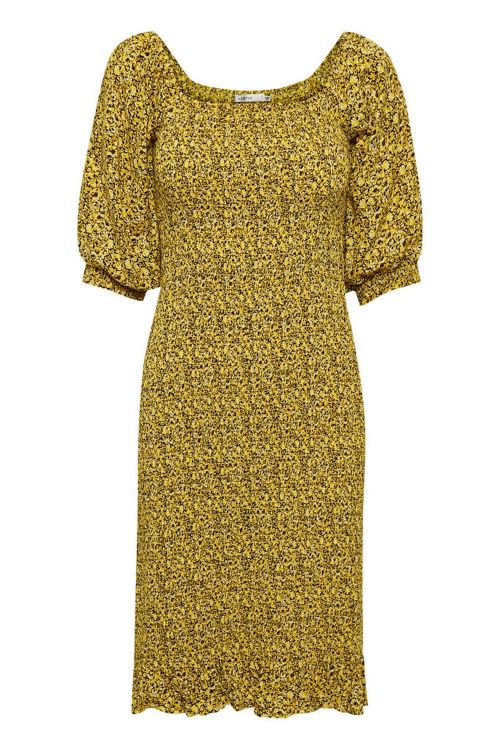 Gestuz Kjole Saralee Slim Dress Yellow Mini Flower Front