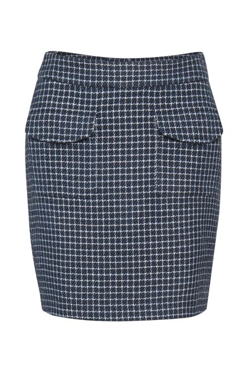 Gestuz Nederdel Clea GZ Skirt Navy/white Check Front