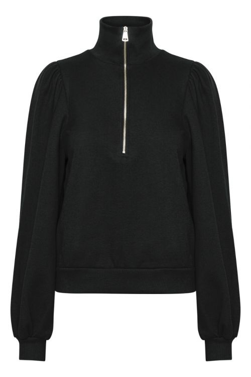 Gestuz - Sweat - Nankita Zipper Sweatshirt - Black