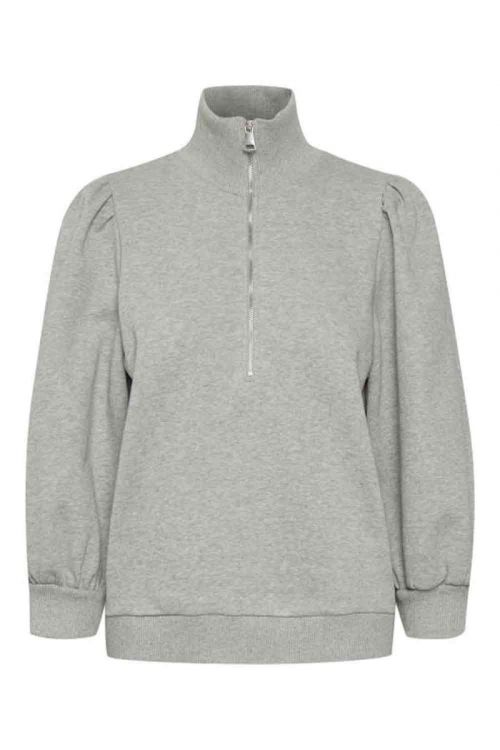 Gestuz - Sweat - Nankita Zipper Sweatshirt - Light Grey Melange