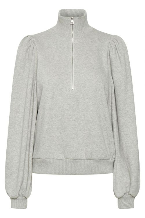 Gestuz - Sweatshirt - Nankita Zipper Sweatshirt - Light Grey Melange