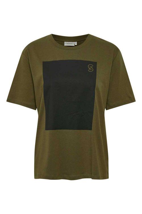 Gestuz T-shirt Mynagz Tee Dark Olive Front
