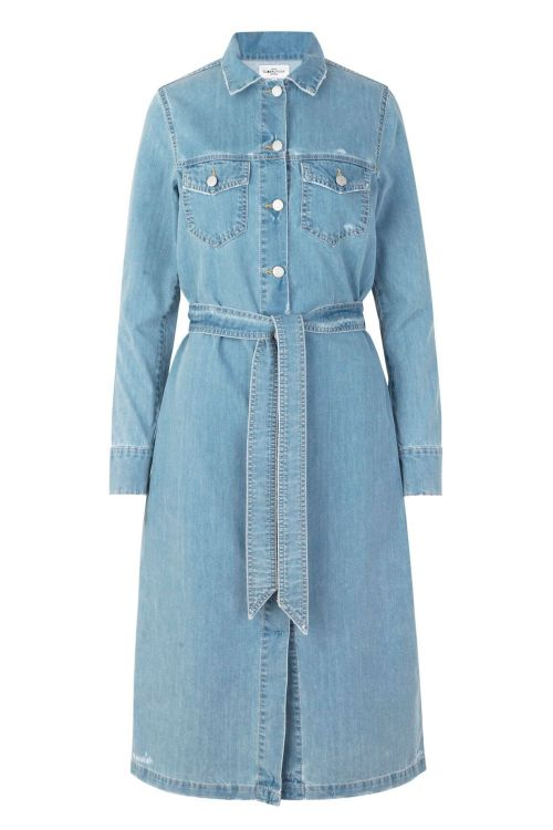 Global Funk Kjole Elmira Dress Light Blue Damage Front