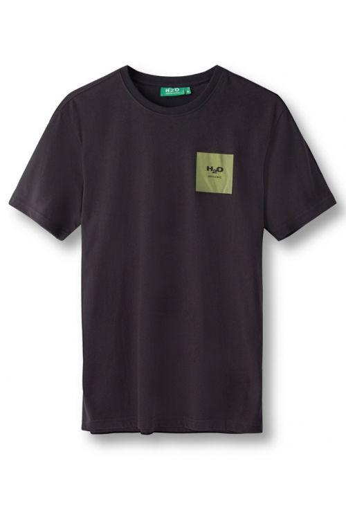 H2O T-shirt Lyø Organic Tee Black/Army Avocado Front