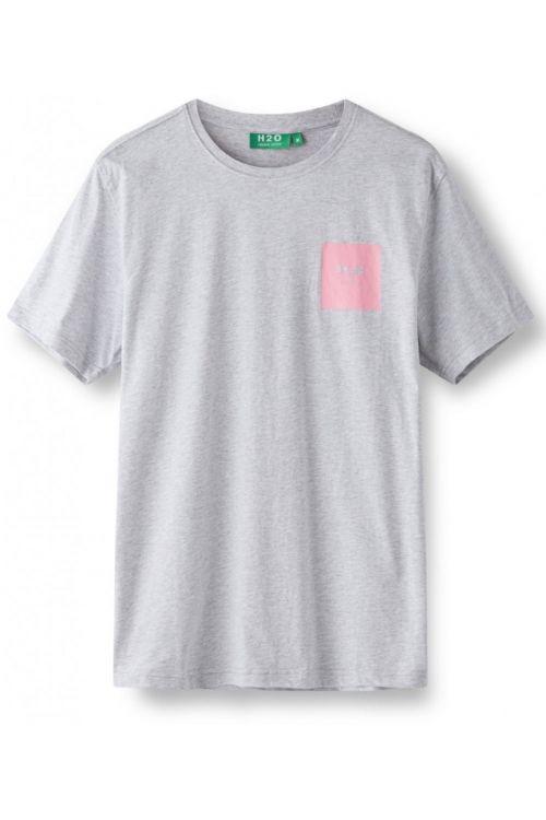 H2O T-shirt Lyø Organic Tee Light Grey Mel/Sachet Pink Front