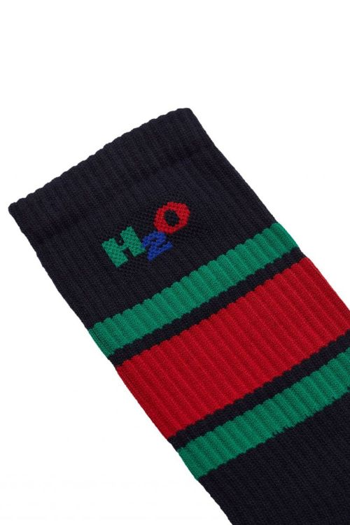 H2O Strømper Crew Sock Navy/Green/Red Front