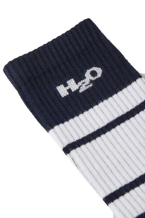 H2O Strømper Crew Socks Navy/White Front