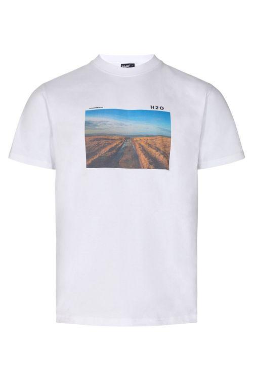H2O T-shirt Lilleø Tee White/Rd Front