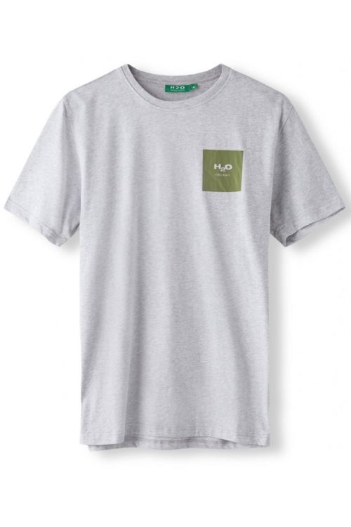 H2O T-shirt Lyø Organic Tee Light Grey Mel/Army Avocado Front