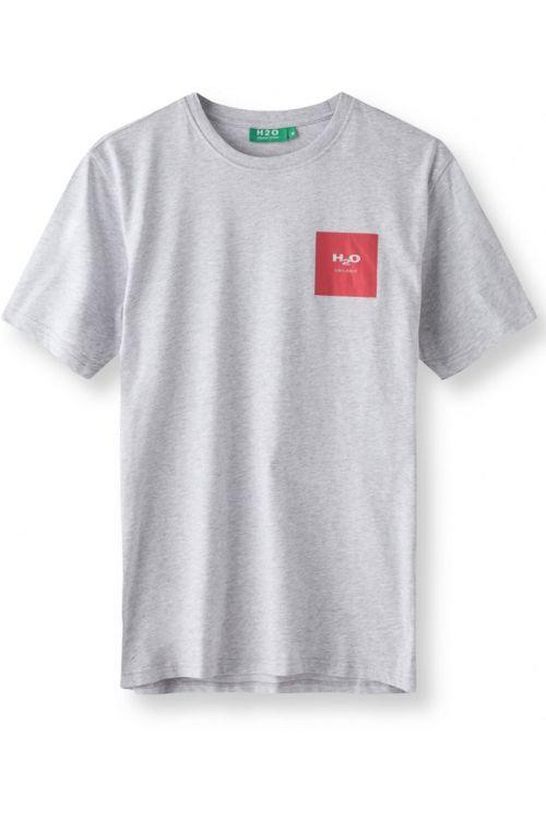 H2O T-shirt Lyø Organic Tee Light Grey Mel/Red Front