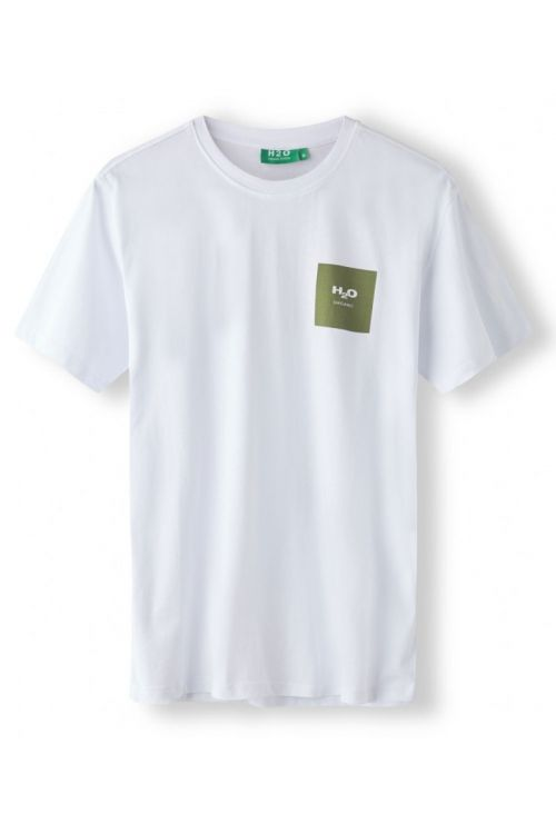 H2O T-shirt Lyø Organic Tee White/Army Avocado Front