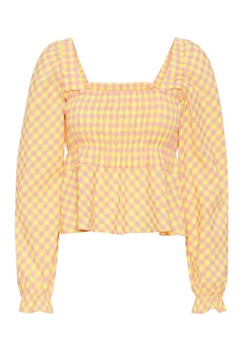 Hunkøn -  Bluse - Adelina Blouse - Peach Checked