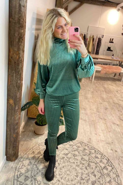 Hunkøn Bluse Maddie Blouse Green With Dots Hover
