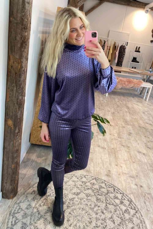 Hunkøn Bluse Maddie Blouse Lavender with Dots Hover