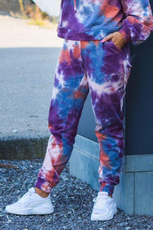 Hunkøn Bukser Vera Trousers Purple Tie Dye Front
