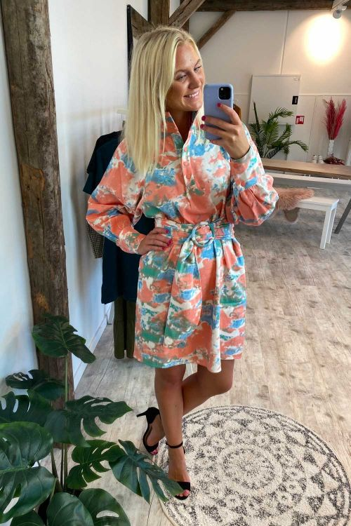 Hunkøn Kjole Fiona Shirt Dress Peach Tie Dye Front