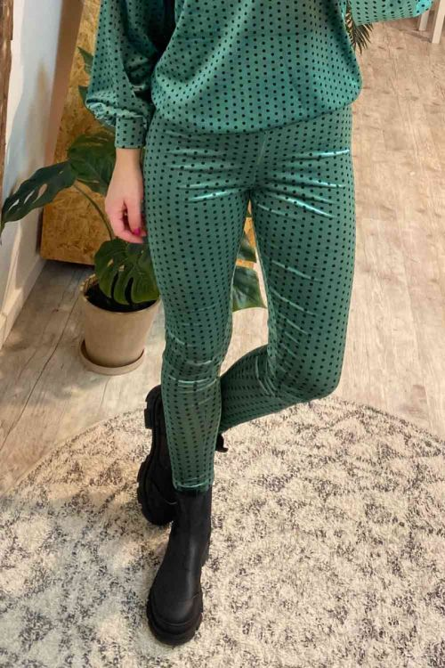 Hunkøn Leggings Maddie Leggings Green With Dots Hover