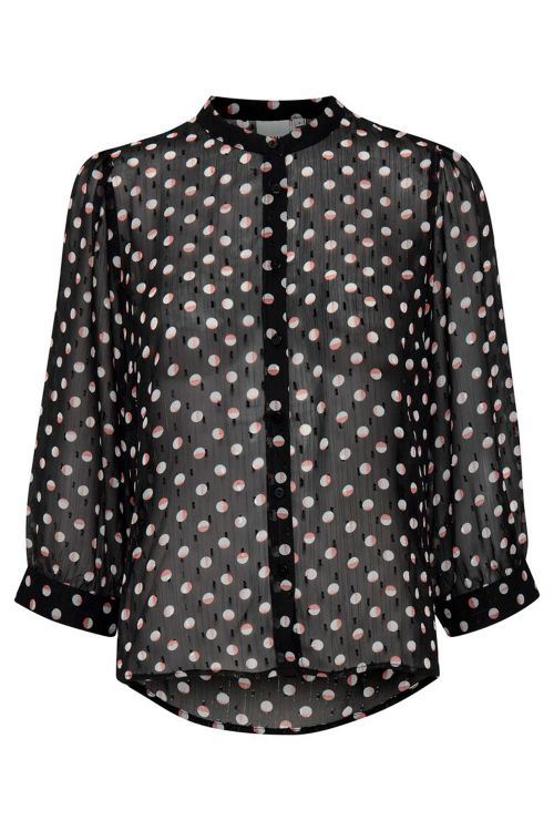 Ichi Bluse Lizzie MS Black With Dot Front