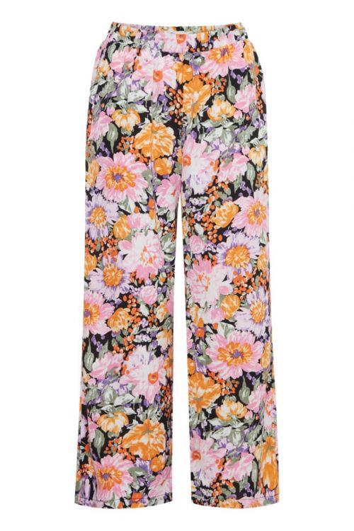 Ichi  Bukser  Filippa Pants  Black Flower mix Front