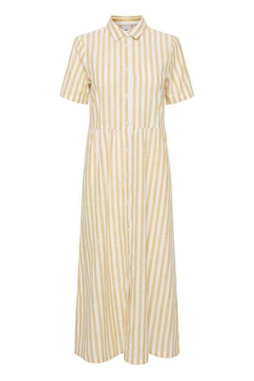Ichi Kjole Gry Dr9 Golden Yellow Striped Front