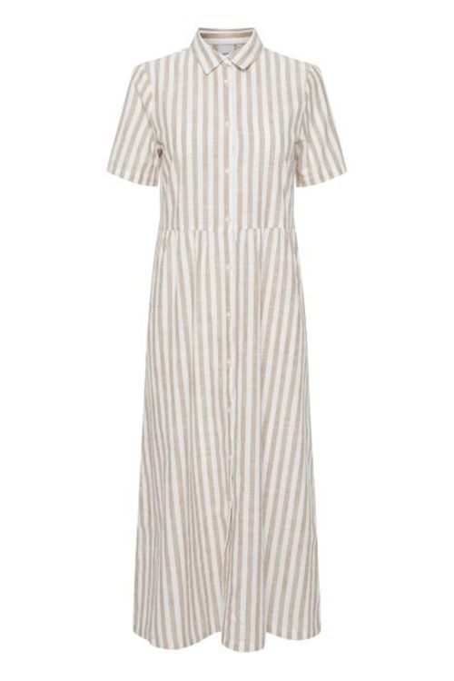 Ichi Kjole Gry Dr9 Natural Striped Front