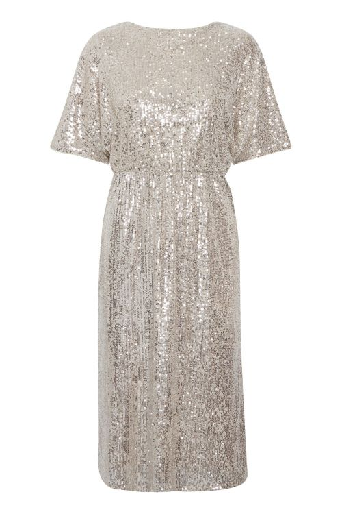 Ichi Kjole IH Jolene Dress Frosted Almond Front1