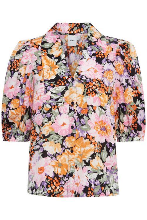 Ichi  Skjorte  Filippa SH shirt  Black Flower mix Front