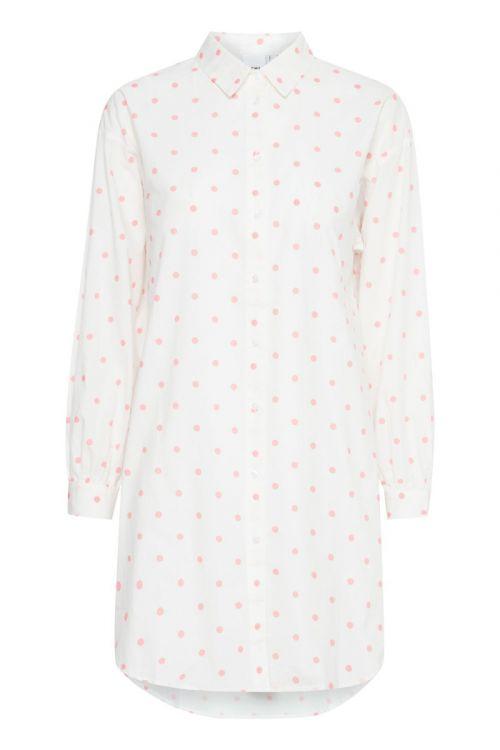 Ichi Skjorte Nola Shirt Cloud Dancer W. Rose Dot Front