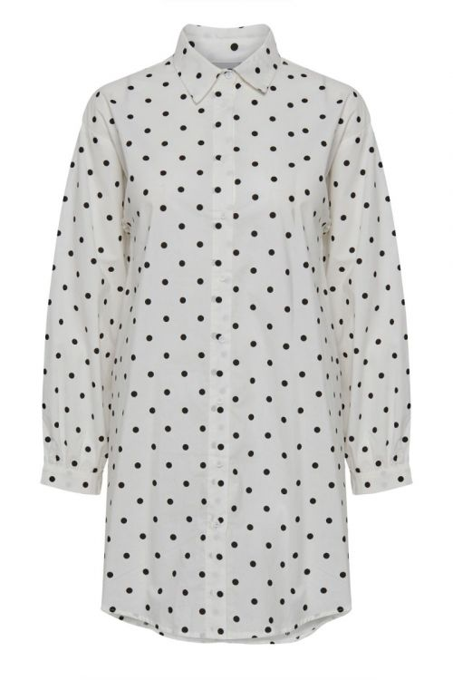 Ichi Skjorte Nola Shirt Cloud Dancer W. Black Dot Front