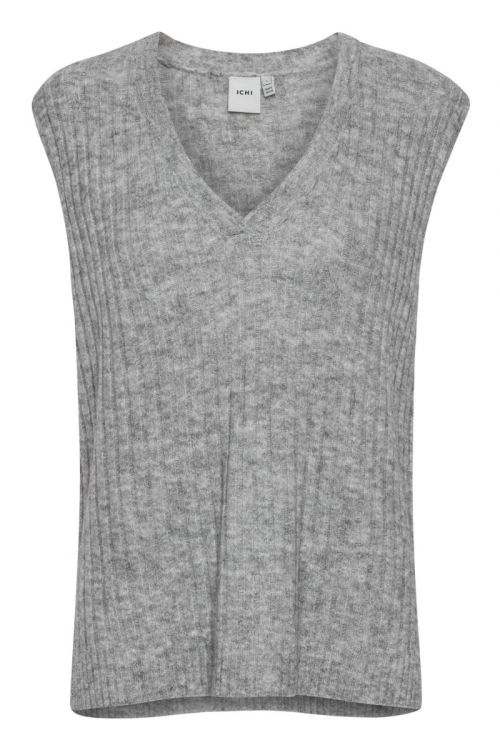 Ichi - Vest - Amara WA RIB - Grey Melange