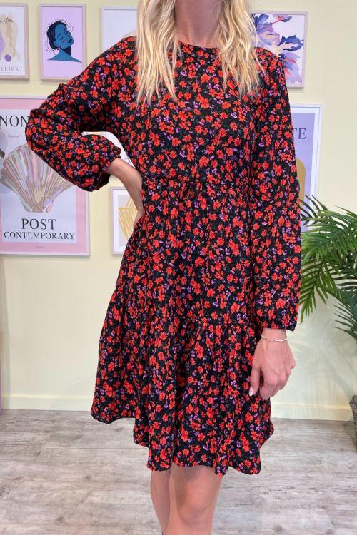 Jacqueline De Young  Kjole   Claude  7/8 O-neck dress  JRS  Black/ Orange flower Front