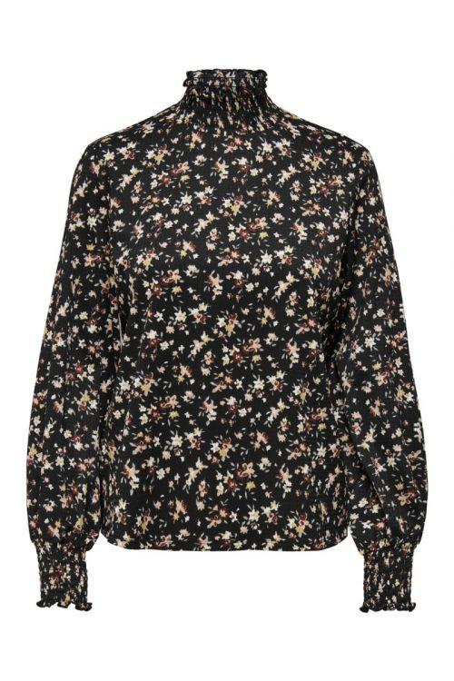 Jacqueline de Yong - Bluse - JDY Claude LS Smock Top - Black/Multi Flower