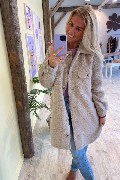 Jacqueline de Yong - JDY Stella Teddy Shirt Jacket - Cement