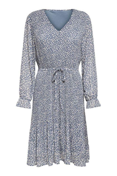 JDY Kjole Emma L/S Pleat Below Knee Dress China Blue Front