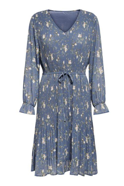 JDY Kjole Emma L/S Pleat Below Knee Dress Vintage Indigo Front