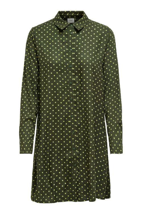Jacqueline de Yong Kjole JDY Enzo Abigail LS Shirt Dress Forest Night/Golden Olive Front