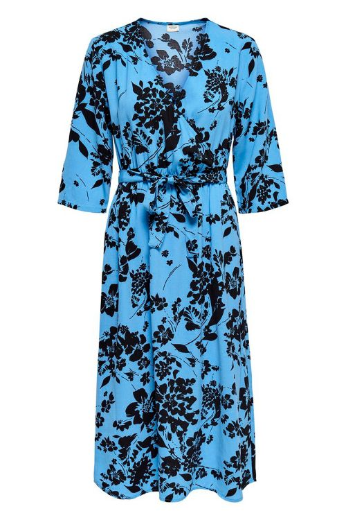 Jacqueline de Yong Kjole JDY Lion 3/4 Wrap Dress Silver Lake/Black Flower Front