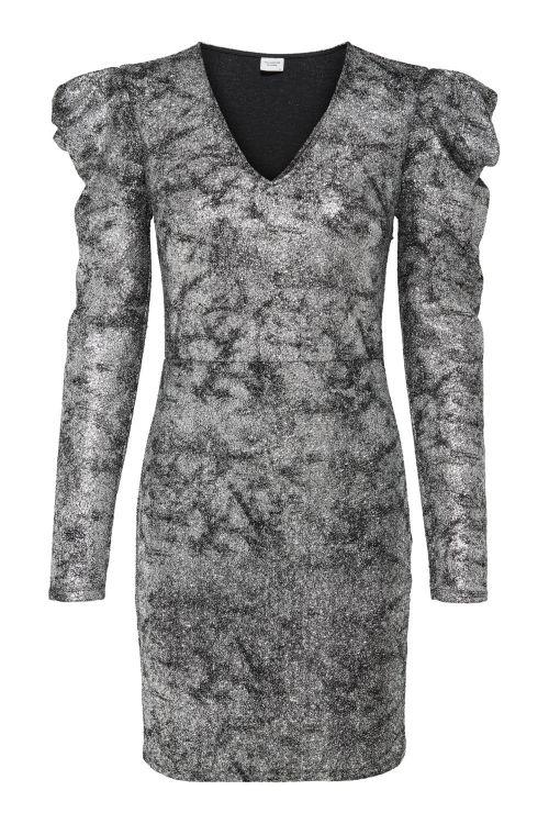 Jacqueline de Yong Kjole JDY Missy L/S Puff Sleeve Dress Black/Silver Front