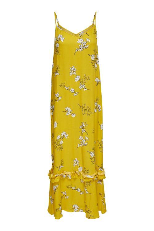 Jacqueline de Yong Kjole JDY Kenya Maxi Strap Dress Lemon/Cloud Dancer Front