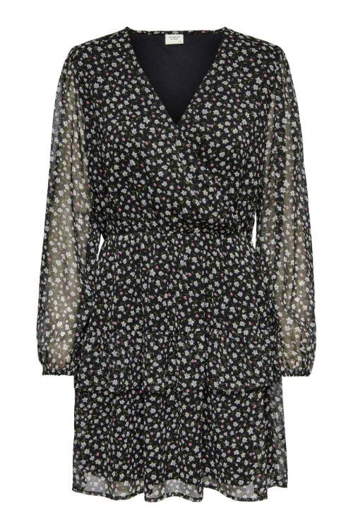JDY Kjole JDY Penelope L/S Dress Black/Small Grey Flower Front