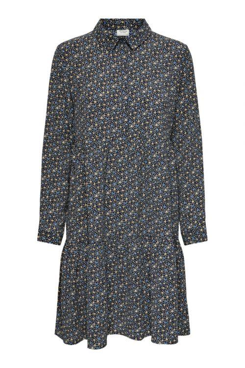 Jacqueline De Yong Kjole Piper L/S AOP Shirt Dress Black Front