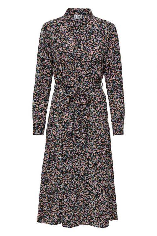 Jacqueline de Yong - Kjole - JDY Piper LS Above Calf Dress - Black/Vibrant Small Flower