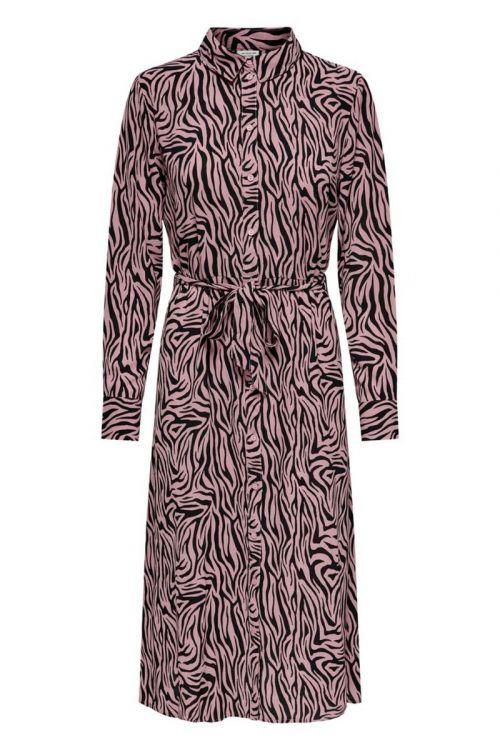 Jacqueline de Yong - Kjole - JDY Piper LS Above Calf Dress - Black/Woodrose